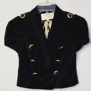 Leifsdottir crop royal short sleeve navy blazer 0